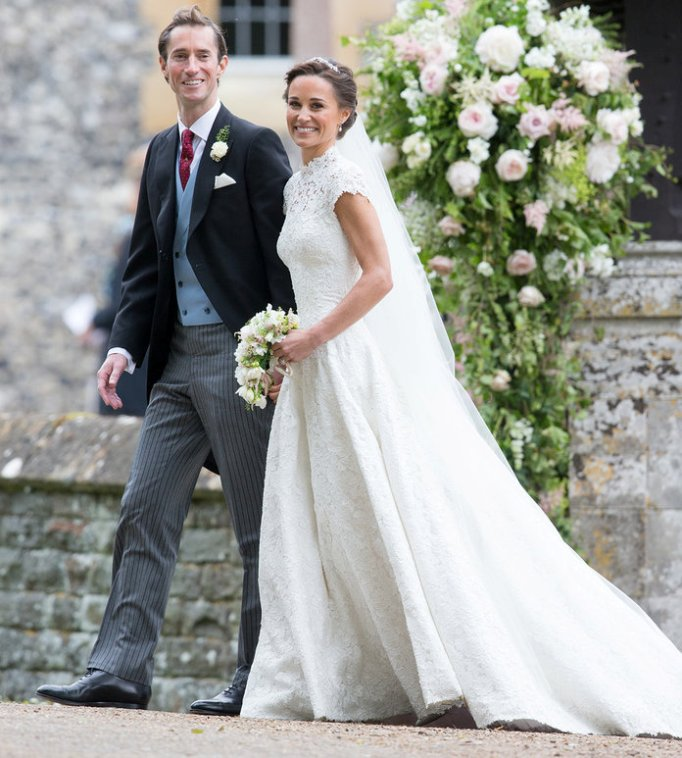ENGLEFIELD GREEN, ENGLAND - MAY 20:  Pippa Middleton and James Matthews leave after getting married at St Mark's Church on May 20, 2017 in Englefield Green, England.  (Photo by Pool/Samir Hussein/WireImage)